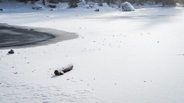 Haute-Savoie, Passy, Lac Vert gelé